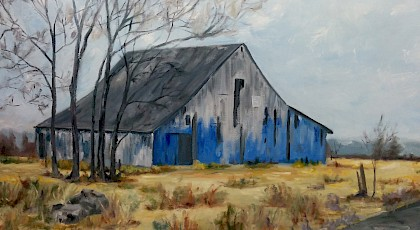 Blue Barn - Marsi Rummel (oil on canvas)