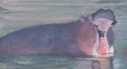 Hungry Hippo - Ruimin Zhang (oil on canvas)