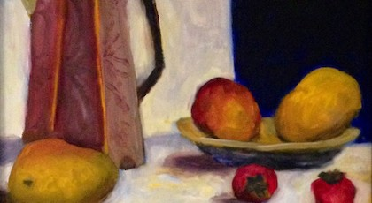 Fruit & Pitcher - Laura Chapman (oil on canvas)