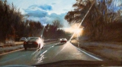 Saw Mill River Parkway Diptych A - David November (oil on canvas)