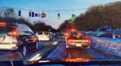 Saw Mill River Parkway Diptych B - David November (oil on canvas)