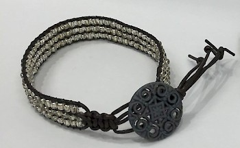 Leather and Bead Bracelet image