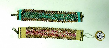 herringbone pattern beaded bracelet with leather trim
